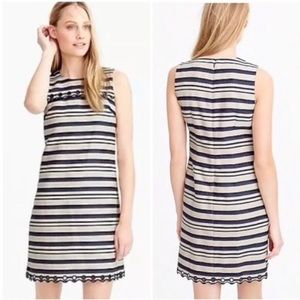 Like New J.Crew Navy/Natural Striped Scallop Dress